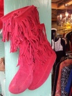 Pink fringed suede boots?