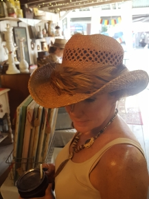 Feather band on hat